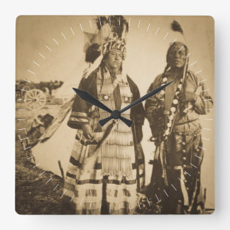 Blackfoot Indians Chief and Warrior Vintage Clock