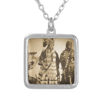 Blackfoot Indians Chief and Warrior Vintage Square Pendant Necklace