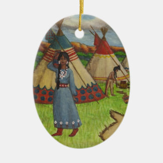 Blackfoot Indians Double-Sided Oval Ceramic Christmas Ornament