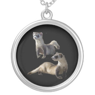 blackfooted ferret round pendant necklace
