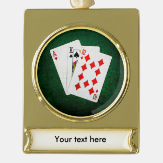Blackjack 21 point - Ace, King, Ten Gold Plated Banner Ornament