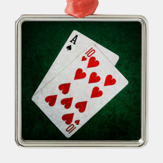 Blackjack 21 point - Ace, Ten Silver-Colored Square Decoration