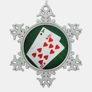 Blackjack 21 point - Ace, Ten Snowflake Pewter Christmas Ornament