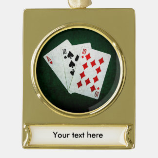 Blackjack 21 point - Ace, Ten, Ten Gold Plated Banner Ornament