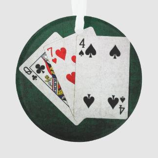 Blackjack 21 point - Queen, Seven, Four