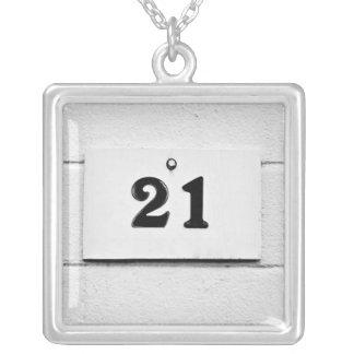 Blackjack 21 silver plated necklace