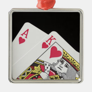 Blackjack Hand - Ace and King (2) Silver-Colored Square Decoration