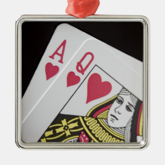 Blackjack Hand - Ace and Queen (3) Silver-Colored Square Decoration