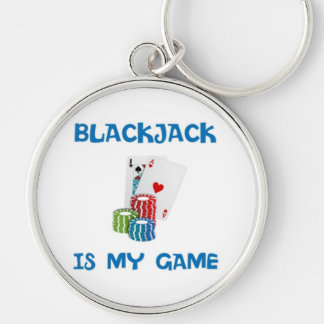 BLACKJACK IS MY GAME Silver-Colored ROUND KEY RING