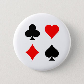 Blackjack / Poker Card Suits: Vector Art: 6 Cm Round Badge