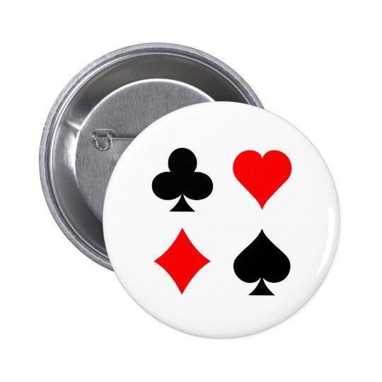 Blackjack / Poker Card Suits: Vector Art: 6 Cm Round Badge