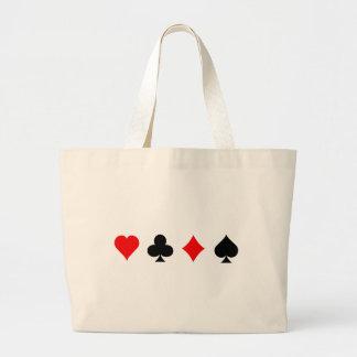 Blackjack / Poker Card Suits: Vector Art: Large Tote Bag