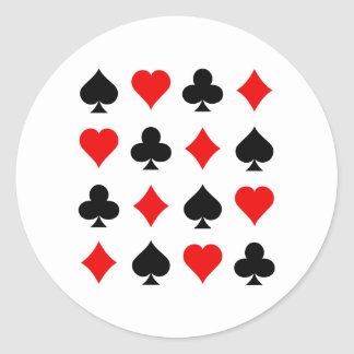Blackjack / Poker Card Suits: Vector Art: Round Sticker