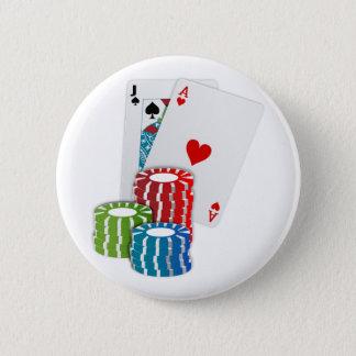Blackjack with Poker Chips 6 Cm Round Badge