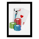 Blackjack with Poker Chips Greeting Card