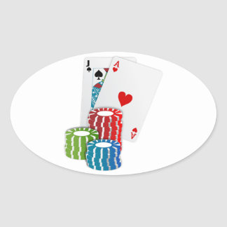 Blackjack with Poker Chips Oval Sticker