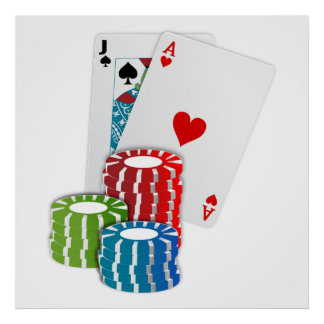 Blackjack with Poker Chips Poster