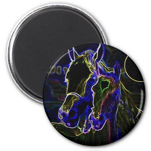Blacklight Horses Fridge Magnets