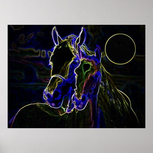 Blacklight Horses Poster Print - Horse Posters