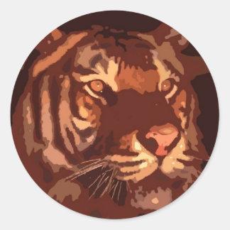 Blacklight Tiger Face Round Stickers