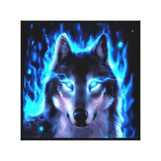 BLACKLIGHT WOLF CANVAS WALL DECORATION