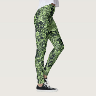 Blacklight Yoga Zen Floral Paisley Mandala Pattern Leggings