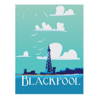 Blackpool, England vintage travel print Postcard