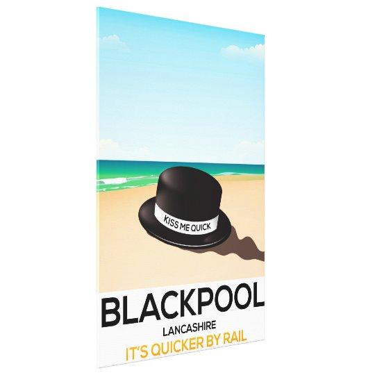 "Blackpool ""kiss me quick"" hat travel train poster"