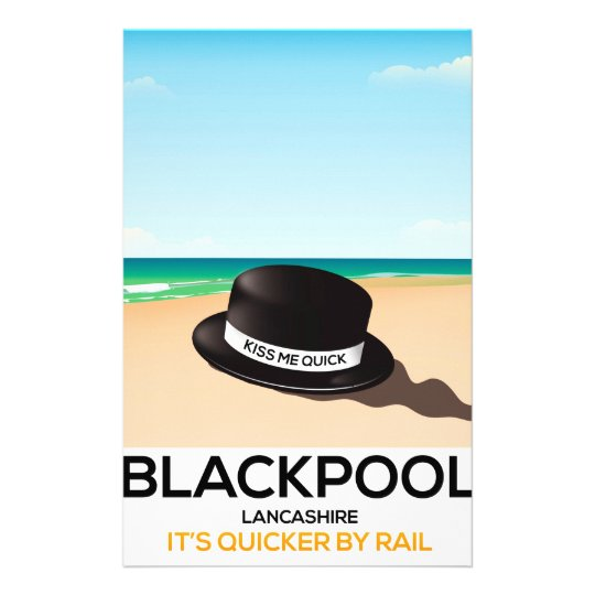 "Blackpool ""kiss me quick"" hat travel train poster"