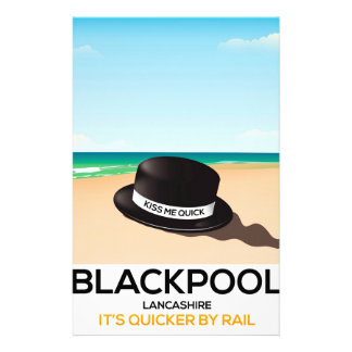 """Blackpool """"kiss me quick"""" hat travel train poster stationery"""