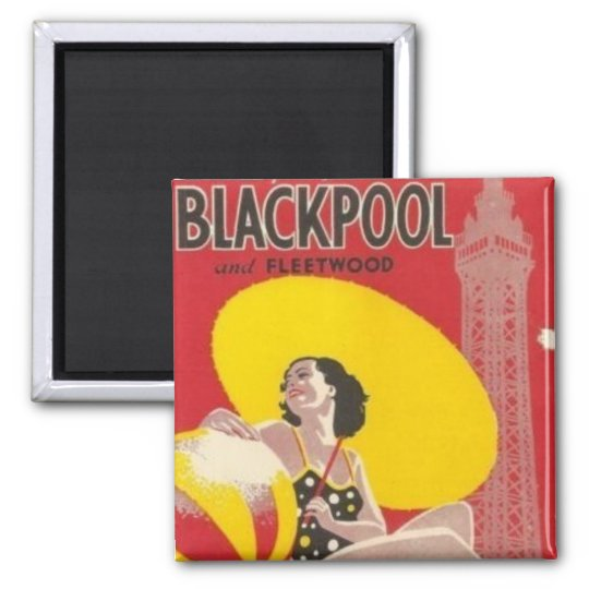 Blackpool Railway Poster Vintage Hiking Duck Square Magnet