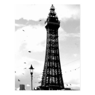 Blackpool Tower and lamp post B/W Postcard
