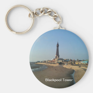 Blackpool Tower in England Basic Round Button Key Ring