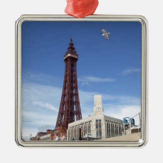 Blackpool Tower Silver-Colored Square Decoration