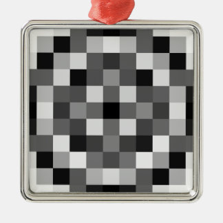 Blacks, Whites, and Shades of Greys Silver-Colored Square Decoration