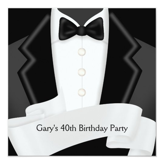 BlackTuxedo Mans Black White 40th Birthday Party Card