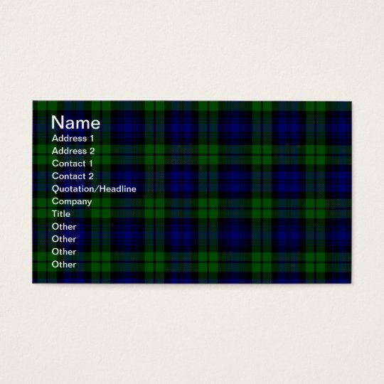 Blackwatch tartan Campbell clan Business Card