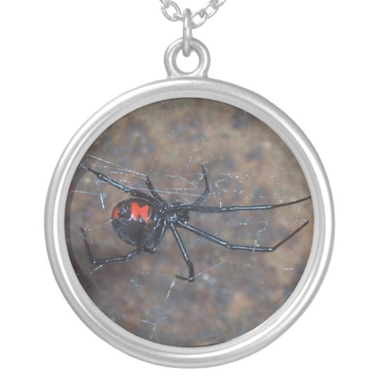blackwidow spider silver plated necklace