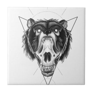 Blackwork bear tile