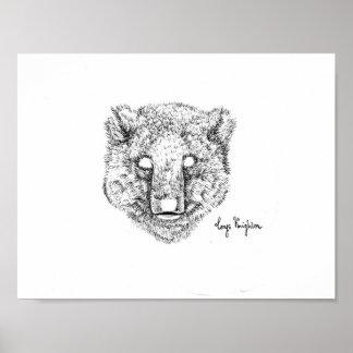 Blackwork Little Bear Print - Matte Finish Paper