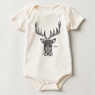 Blackwork Stag Organic Baby Bodysuit