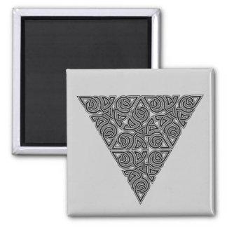 Blackwork Triangle Knot Square Magnet