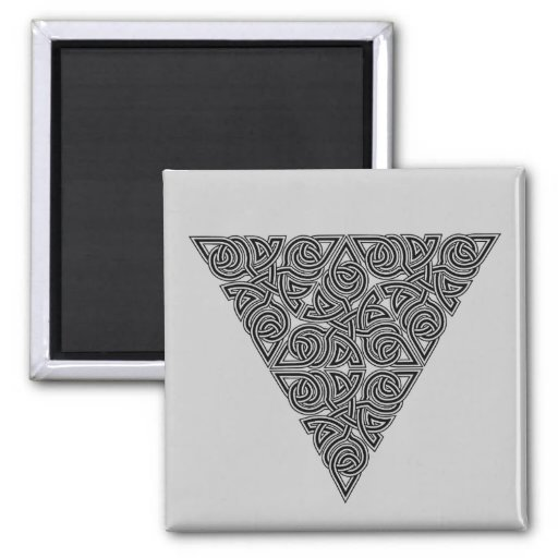 Blackwork Triangle Knot Square Magnet