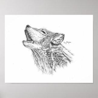 Blackwork Wolf Print - Matte Finish Paper