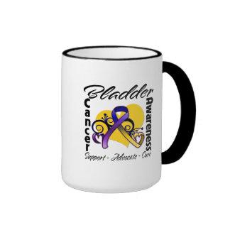 Bladder Cancer Awareness Heart Ribbon Ringer Mug