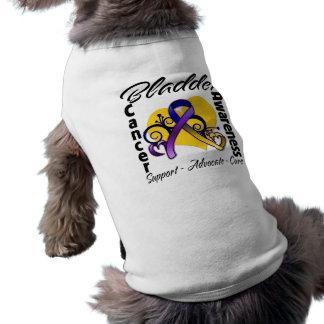 Bladder Cancer Awareness Heart Ribbon Sleeveless Dog Shirt