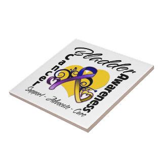 Bladder Cancer Awareness Heart Ribbon Small Square Tile