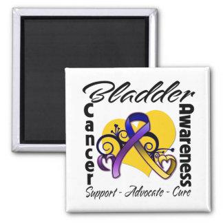 Bladder Cancer Awareness Heart Ribbon Square Magnet