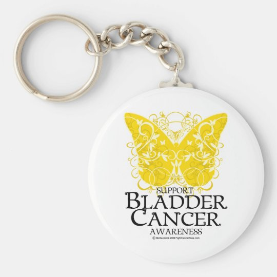 Bladder Cancer Butterfly Basic Round Button Key Ring