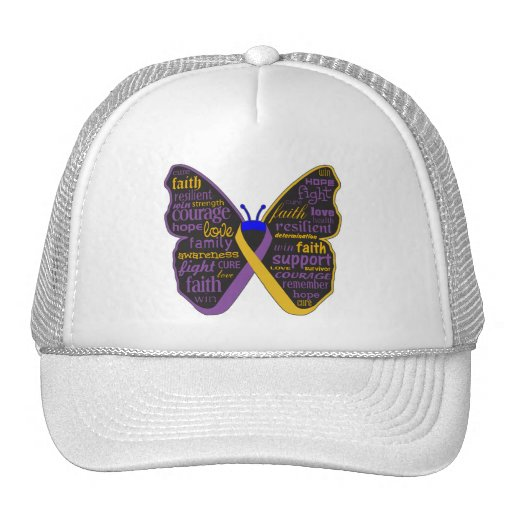 Bladder Cancer Butterfly Collage of Words Mesh Hat